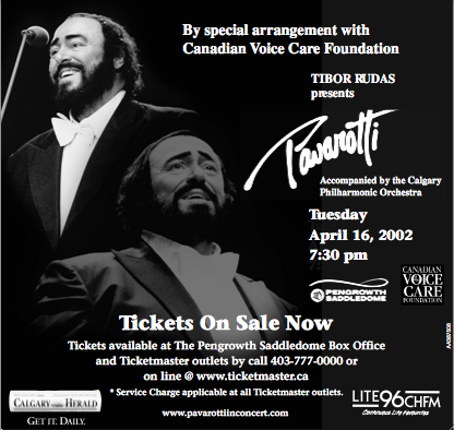 Maestro Pavarotti at the Saddledome in Calgary, Alberta, 16 April 2002