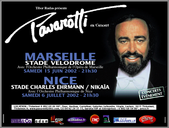 Maestro Pavarotti in Marseille and Nice, France, June/July 2002